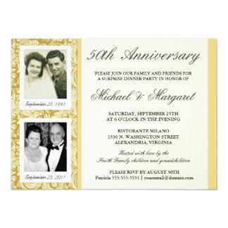 50.o Invitaciones del aniversario - entonces y Invitación 13,9 X 19,0 Cm