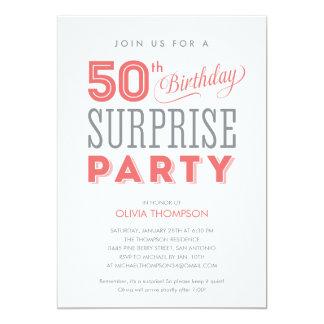 """50.o Invitaciones del cumpleaños de la sorpresa Invitación 5"""" X 7"""""""