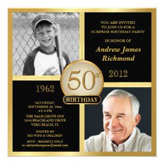 50 o Invitaciones del cumpleaños entonces y ahora Invitacion Personalizada