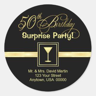 50.o Invitaciones del cumpleaños - etiquetas del r Pegatinas Redondas