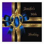 50.o Joya azul del corazón del oro de la fiesta de Invitación 13,3 Cm X 13,3cm