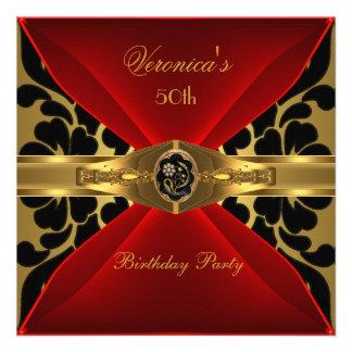 50.o Joya floral del oro del cumpleaños del damasc Comunicado Personalizado