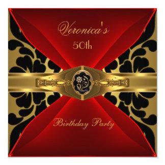 50.o Joya floral del oro del cumpleaños del Invitación 13,3 Cm X 13,3cm