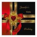 50.o Joya roja del corazón del oro de la fiesta de Invitación 13,3 Cm X 13,3cm