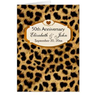 50.o Leopardo del oro del aniversario de boda del Tarjeta Pequeña