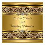 50.o Leopardo elegante 3 del negro del oro de la f Invitaciones Personales