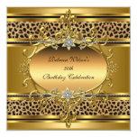 50.o Leopardo elegante 4 del negro del oro de la Invitación 13,3 Cm X 13,3cm