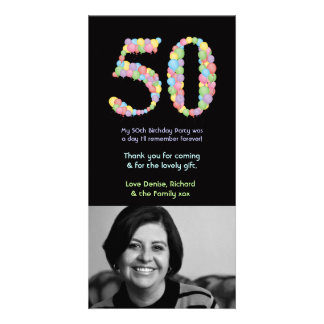 50.o Los globos del cumpleaños le agradecen tarjet Tarjeta Fotografica