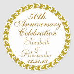 50.o Medallón del Aniversario-Oro del boda Etiquetas Redondas