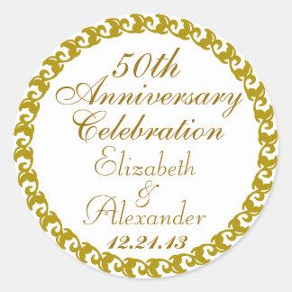 50 o Medallón del Aniversario-Oro del boda Etiquetas Redondas
