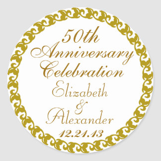 50.o Medallón del Aniversario-Oro del boda Pegatina Redonda