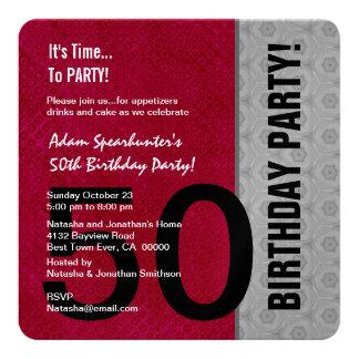 50.o Metálico negro de plata rojo moderno del Invitacion Personalizada