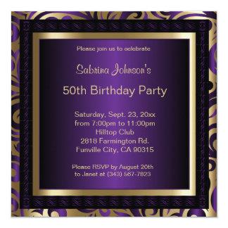 """50.o Metálico púrpura y oro de la fiesta de Invitación 5.25"""" X 5.25"""""""