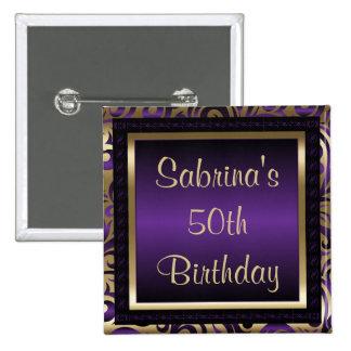 50.o Metálico púrpura y oro de la fiesta de Pin Cuadrado