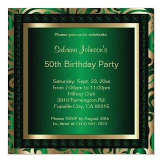 """50.o Metálico verde y oro de la fiesta de Invitación 5.25"""" X 5.25"""""""
