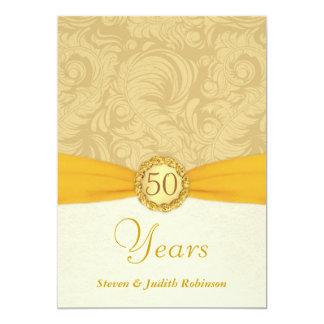 50.o Monograma del oro de las invitaciones del Invitación 12,7 X 17,8 Cm