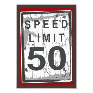 """50.o Muestra sucia del límite de velocidad de la Invitación 5"""" X 7"""""""