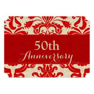 """50.o Negocio rojo y de color topo del aniversario Invitación 5"""" X 7"""""""