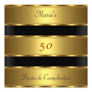"""50.o negro Cumpleaños del oro de la fiesta de Invitación 5.25"""" X 5.25"""""""