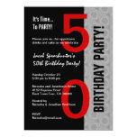 """50.o Negro de plata rojo moderno W1792 de la pieza Invitación 5"""" X 7"""""""