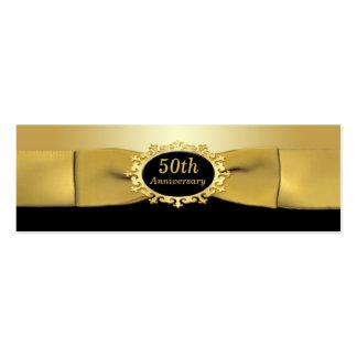 50.o Negro del aniversario y etiqueta del favor Tarjetas De Visita Mini