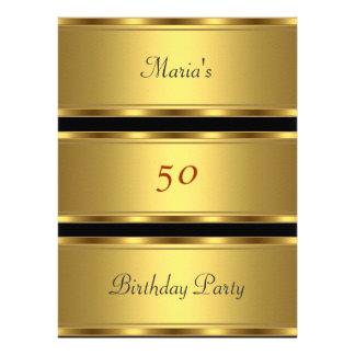 50 o negro del oro de la fiesta de cumpleaños del anuncio