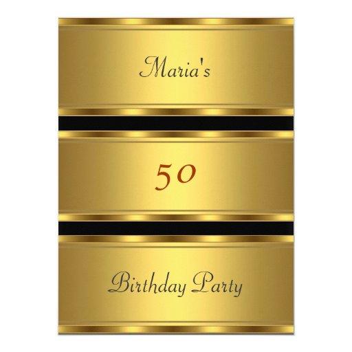 """50.o negro del oro de la fiesta de cumpleaños del invitación 6.5"""" x 8.75"""""""