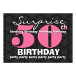 50.o Negro del rosa de la fiesta de cumpleaños de  Invitaciones Personales