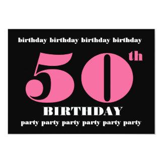 """50.o Negro del rosa de la plantilla de la Invitación 5"""" X 7"""""""
