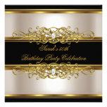 50.o negro elegante del oro de la crema de la fies invitación personalizada