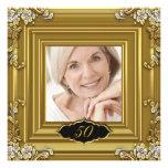 50.o negro elegante del oro de la fiesta de cumple invitación