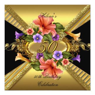 """50.o negro elegante del oro de las petunias de la invitación 5.25"""" x 5.25"""""""