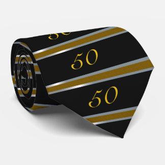 50.o Negro, plata y oro del lazo del cumpleaños Corbata Personalizada