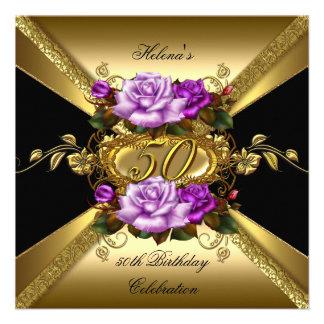 50.o Negro púrpura del oro de los rosas de la fies