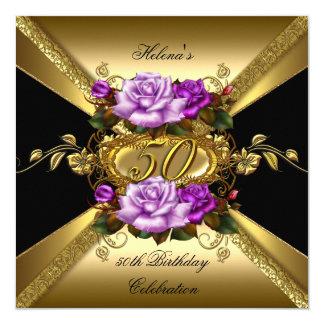 """50.o Negro púrpura del oro de los rosas de la Invitación 5.25"""" X 5.25"""""""