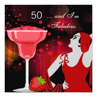 """50.o Negro rojo fabuloso de 50 divas de la fiesta Invitación 5.25"""" X 5.25"""""""