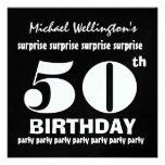 50.o Negro W1894 blanco de la fiesta de cumpleaños Comunicados Personalizados