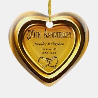 50.o Ornamento de la foto del aniversario de boda Adorno Navideño De Cerámica En Forma De Corazón