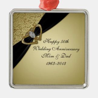 50.o Ornamento del aniversario de boda Adorno Navideño Cuadrado De Metal
