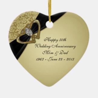 50.o Ornamento del aniversario de boda Adorno Navideño De Cerámica En Forma De Corazón