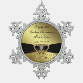 50.o Ornamento del copo de nieve del aniversario Adorno De Peltre En Forma De Copo De Nieve