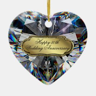 50.o Ornamento del corazón del aniversario de boda Adorno Navideño De Cerámica En Forma De Corazón