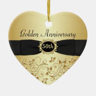 50.o Ornamento del navidad del aniversario de boda Adorno Navideño De Cerámica En Forma De Corazón