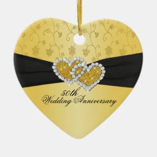 50.o Ornamento del recuerdo del aniversario de Adorno Navideño De Cerámica En Forma De Corazón