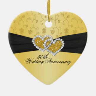 50.o Ornamento del recuerdo del aniversario de Adorno De Cerámica En Forma De Corazón