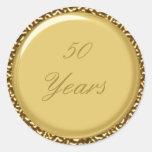 """50.o Oro 1,5"""" del aniversario pegatina redondo del"""