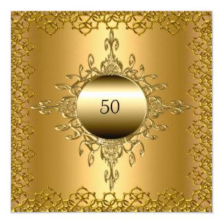 """50.o Oro de la fiesta de cumpleaños Invitación 5.25"""" X 5.25"""""""