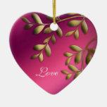 50.o Oro de la púrpura del rosa del navidad del Adorno Navideño De Cerámica En Forma De Corazón