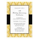 50.o Oro del aniversario de boda y damasco negro Invitaciones Personalizada