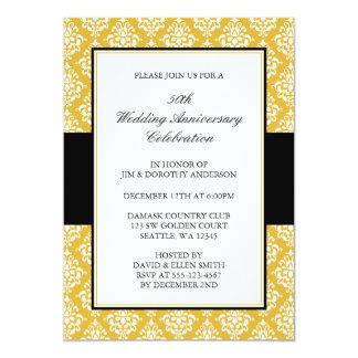 """50.o Oro del aniversario de boda y damasco negro Invitación 5"""" X 7"""""""